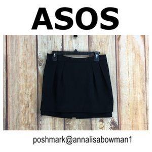 💸ASOS Black Lined Double Panel Mini Skirt size 8